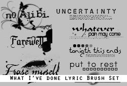 WhatI'veDone Lyric Brushes by rwork