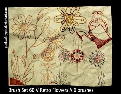 Brush Set 60 - Retro Flowers