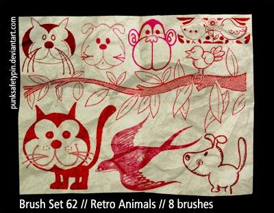 Brush Set 62 - Retro Animals