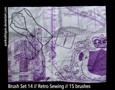 Brush Set 14 - Retro Sewing