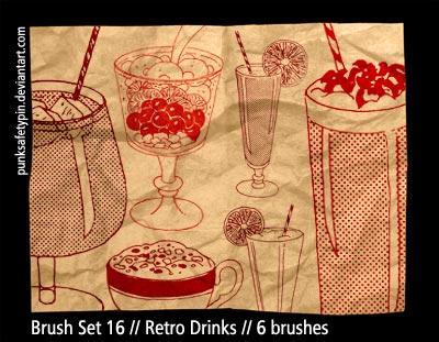 Brush Set 16 - Retro Drinks by punksafetypin