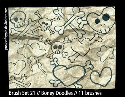 Brush Set 21 - Boney Doodles