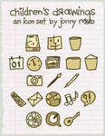 Children's Drawings Icon Set