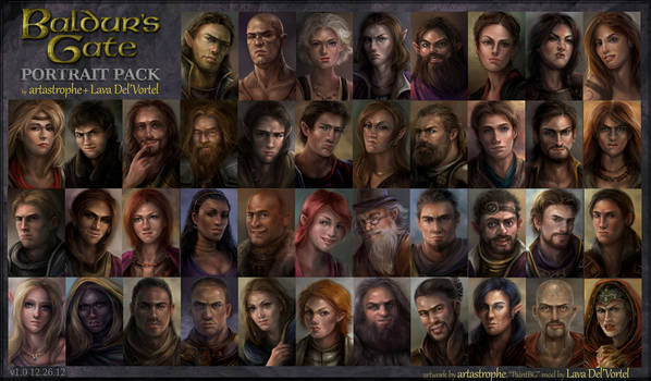 Baldur's Gate NPC Portraits by artastrophe