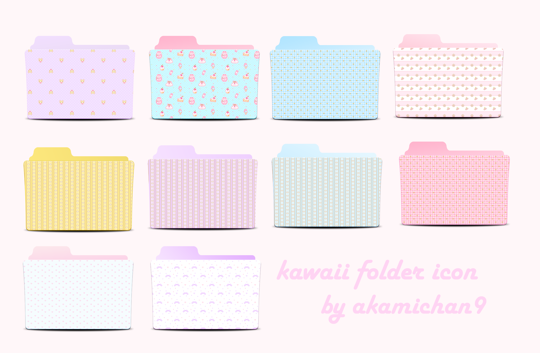 Cute Folder Icon Set By Akamichan9 by akamichan9 on DeviantArt