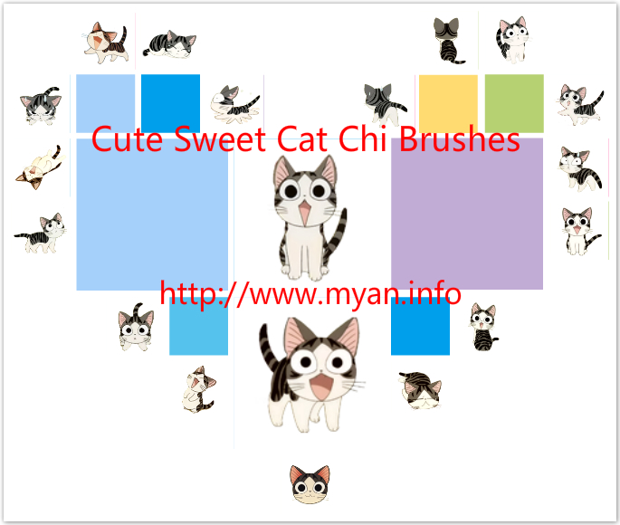 19 Cute Sweet Cat Chi Brushes for Photoshop by Jia