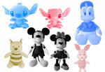 7 Disney Animation Image Plush Toys Brushes by Jia
