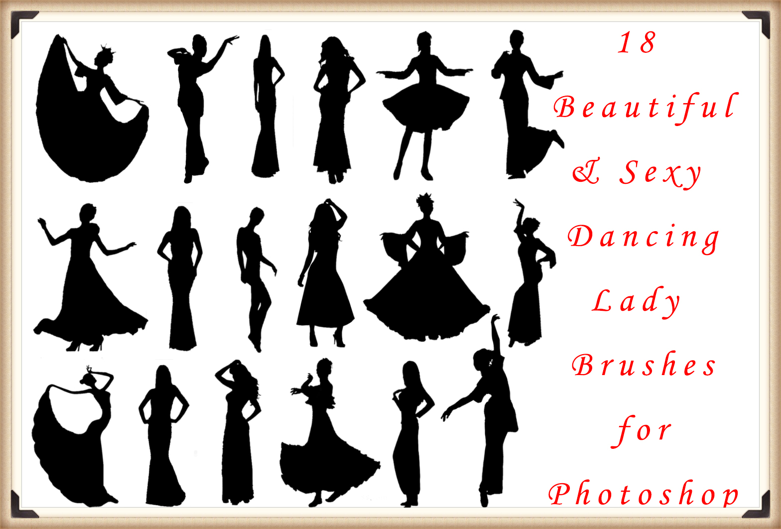 18 Beautiful and Sexy Dancing Lady Brushes