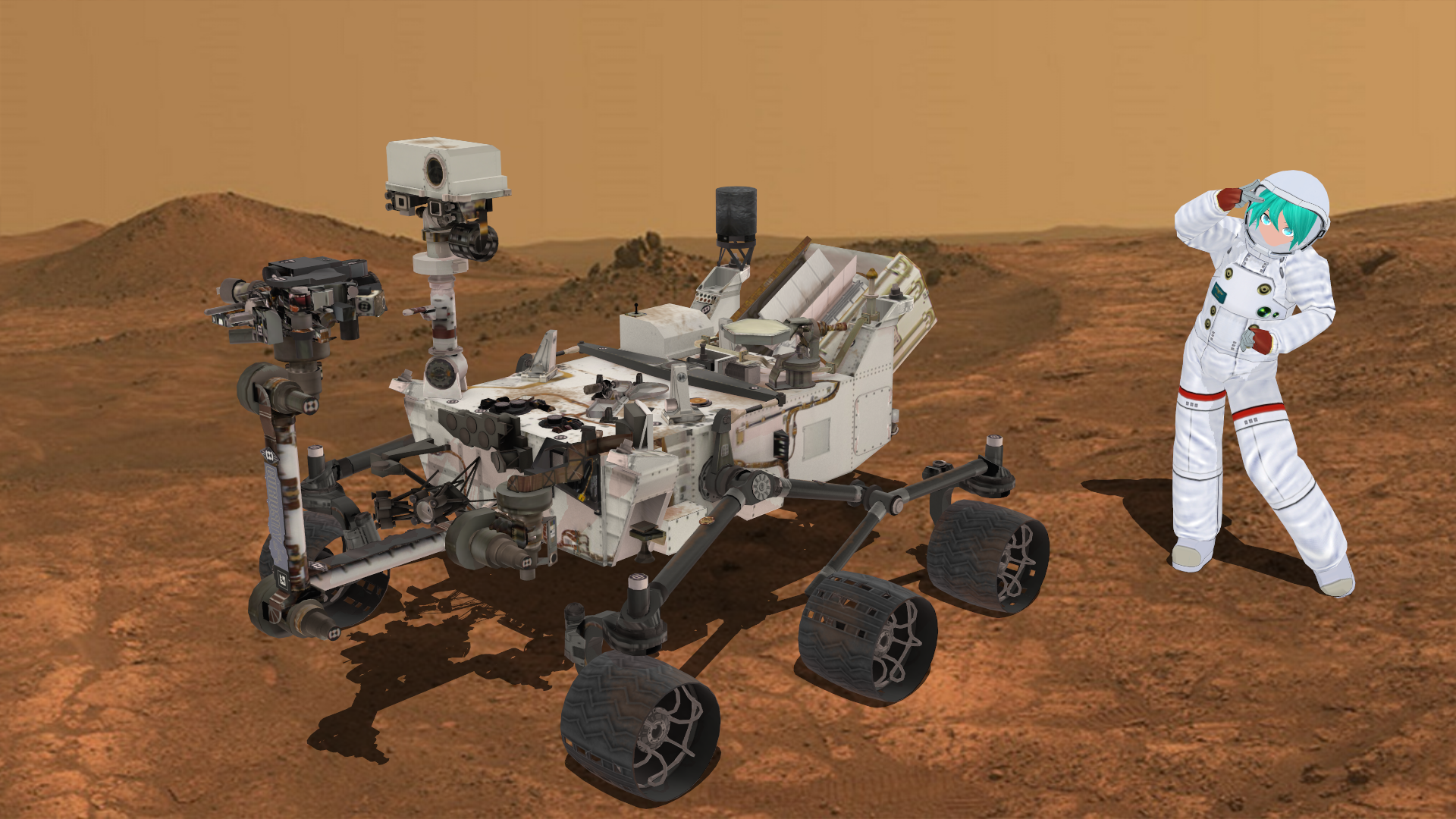 curiosity rover on mars background - photo #44