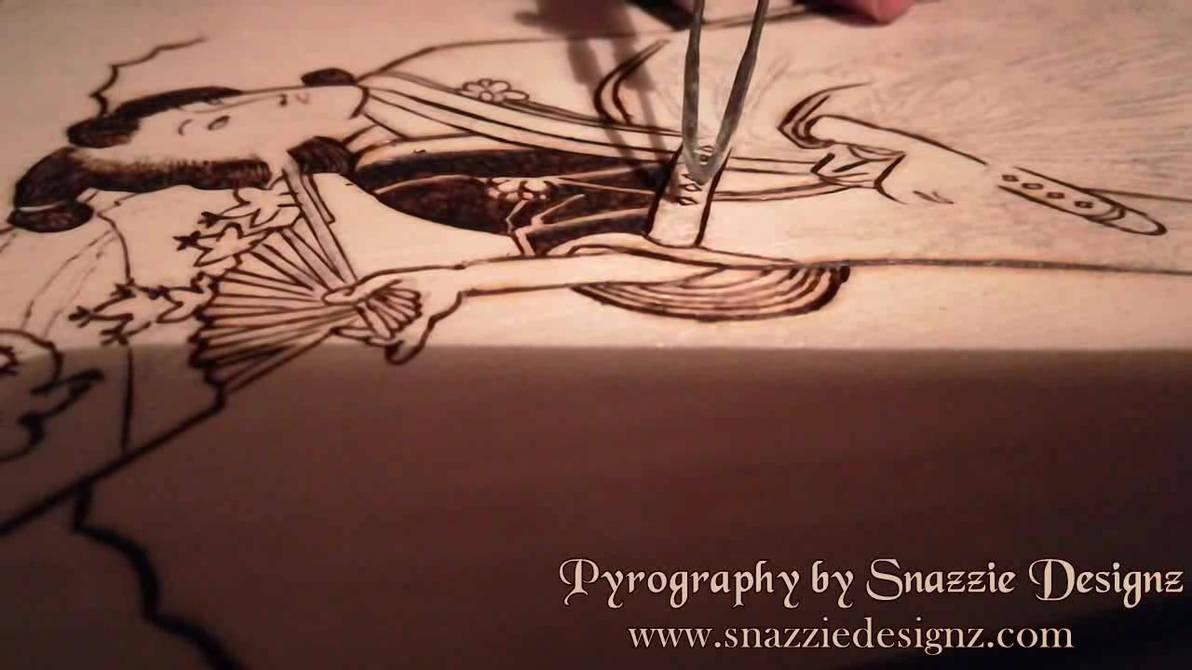 Samurai Girl Pyrography Work in Progress Video
