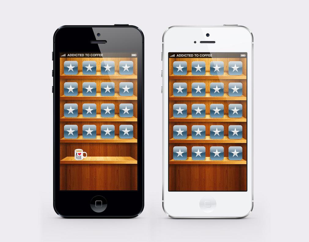 iPhone 5 Wallpaper - wooden shelf by twinware