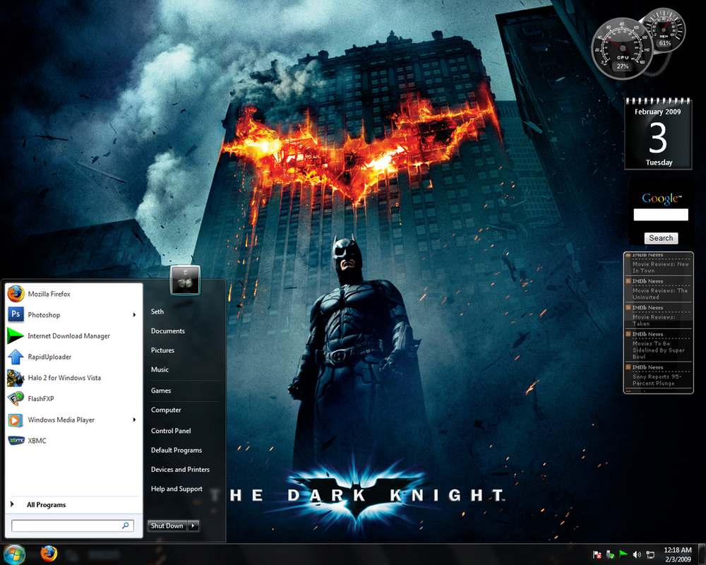 Windows7 The Dark Knight Theme by XBMCG33K