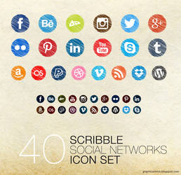 Scribble Social Icons by Mikymeg by mikymeg