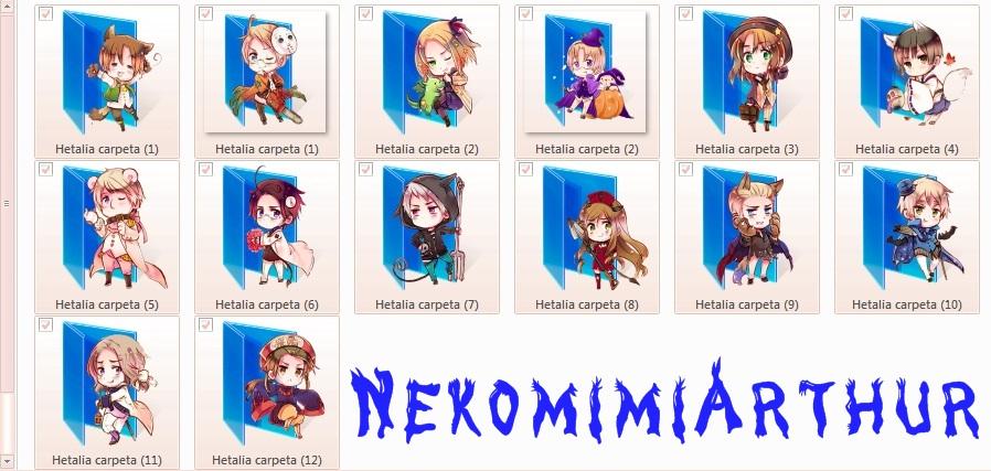 Hetalia Halloween folders (icons) by Nekomimiarthur