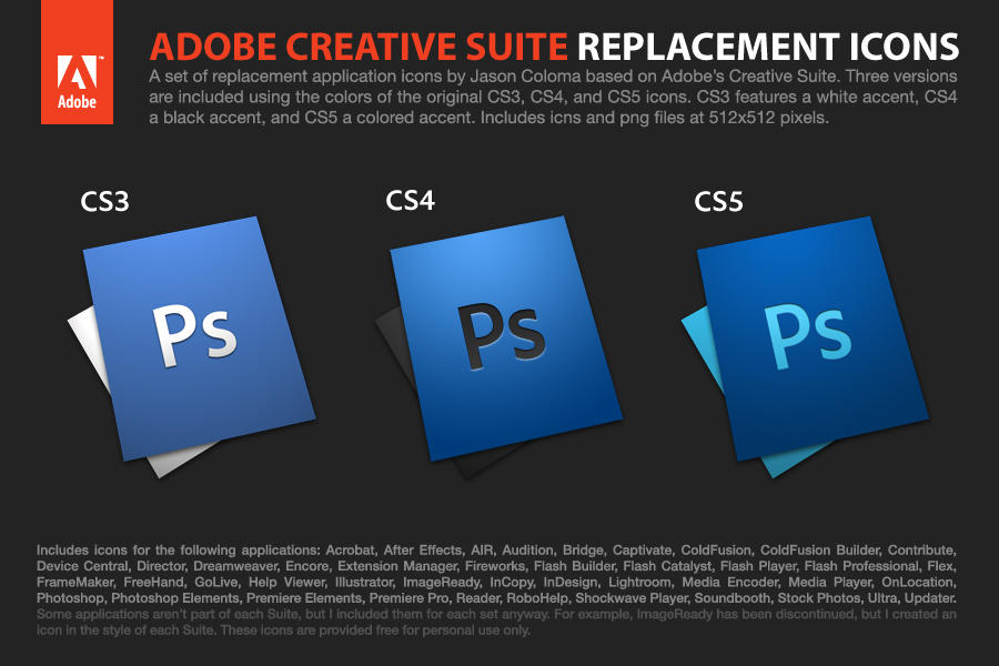 adobe creative suite icons by coloson d2y012w - Ücretsiz Photoshop Simgeleri