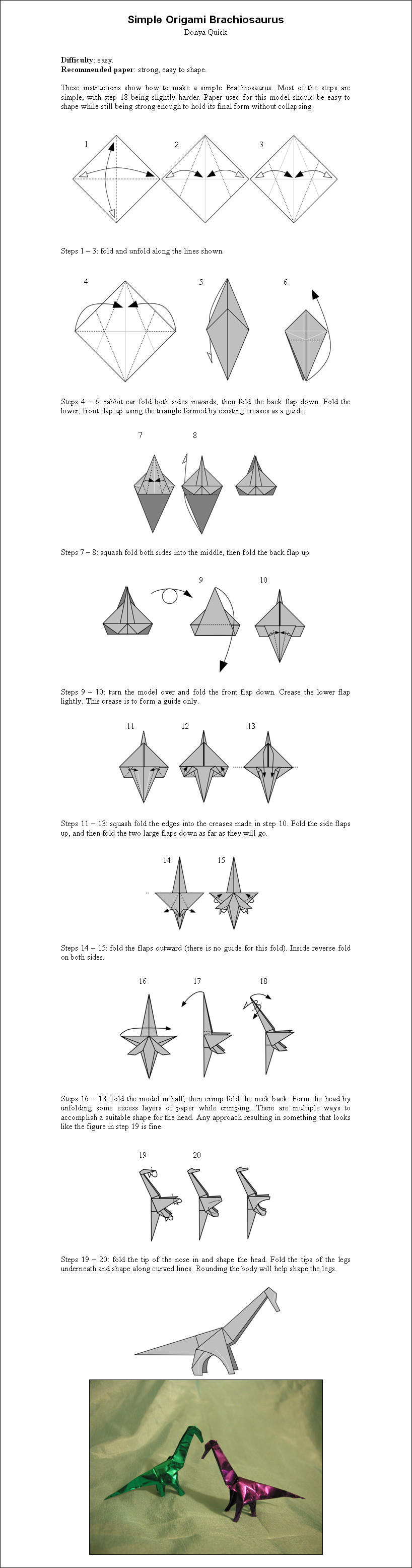 how to make an origami dinosaur step by step