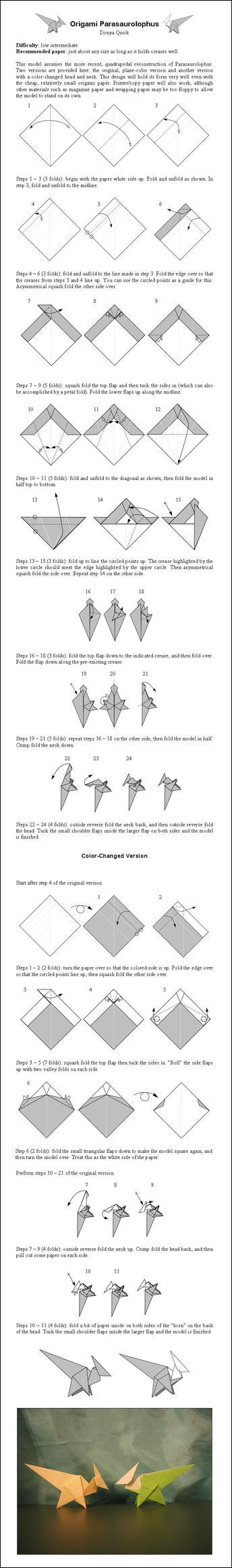 Origami Parasaurolophus Instr. by DonyaQuick