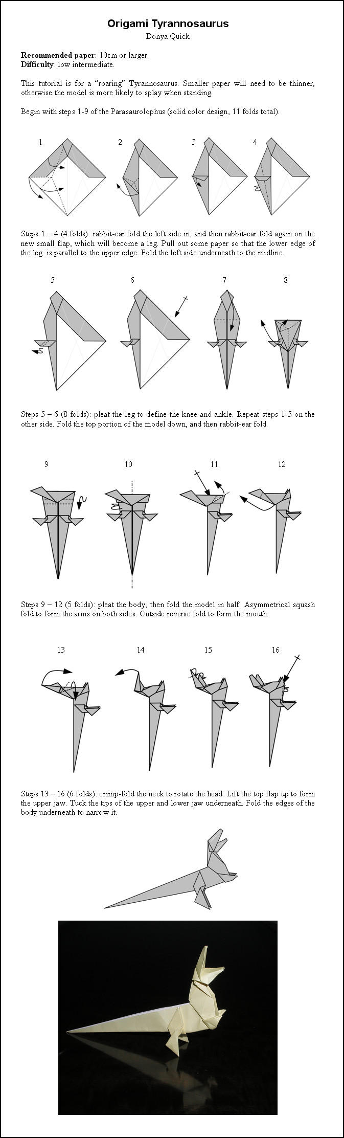 Origami T Rex Instructions By DonyaQuick