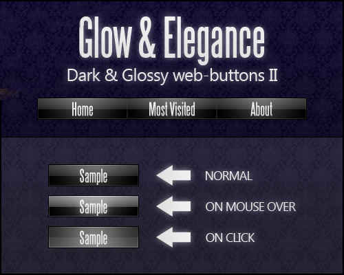 Dark And Glossy Web Buttons