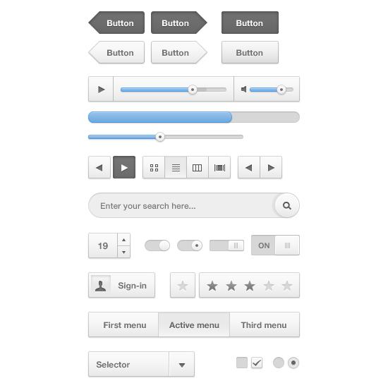 Cloudy UI (User Interface) Kit PSD