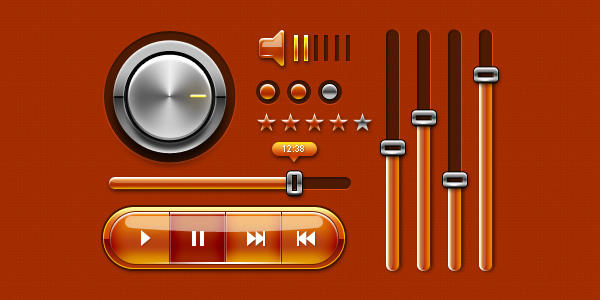 Music UI Kit For Web and Mobile Phones (PSD) by softarea