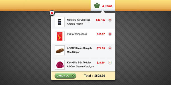 Shopping cart popup interface (PSD) by softarea