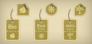 Eco-Friendly Tags And Stickers (PSD)