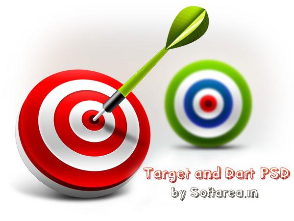 3D Target and Dart Icons (PSD)