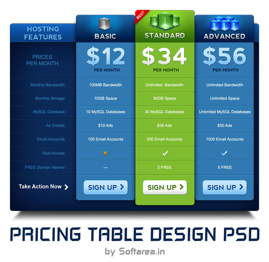 Pricing Table PSD Template By Softarea On DeviantArt - Pricing flyer template