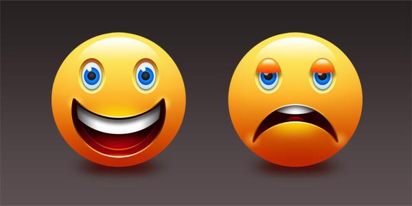 Happy And Sad Emoticons (PSD) by softarea