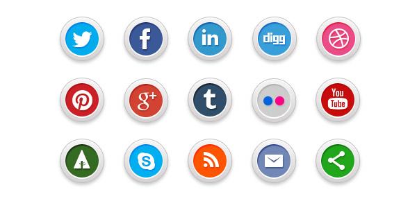 15 Social Media Icons (PSD)