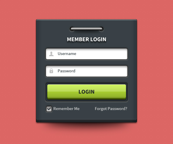 Member Login Form UI Element (PSD) by softarea