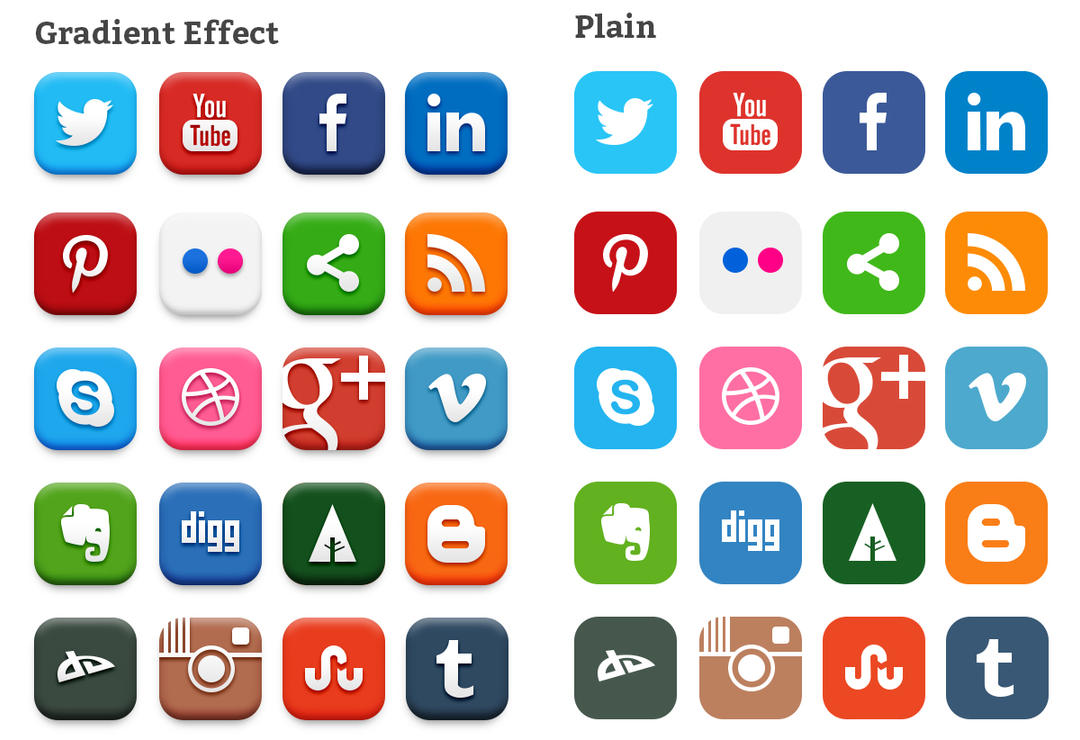 20 Popular Social Media Icons (PSD) by softarea on DeviantArt