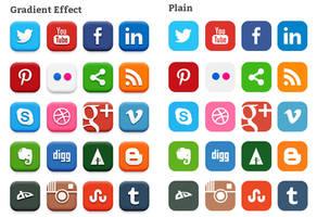 20 Popular Social Media Icons (PSD) by softarea