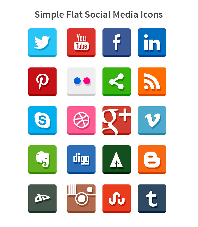 Simple Flat Social Media Icons (PSD and PNG)