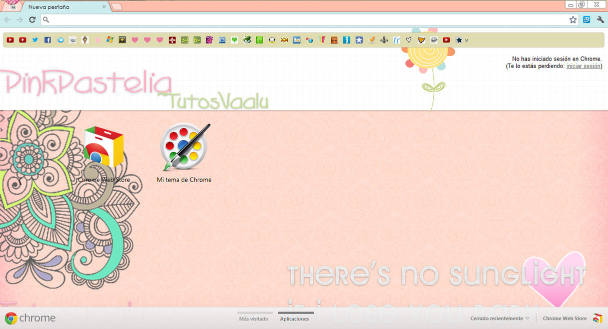 Google themes kawaii - Theme Pink Pastelia For Google Chrome By Tutosvaalu