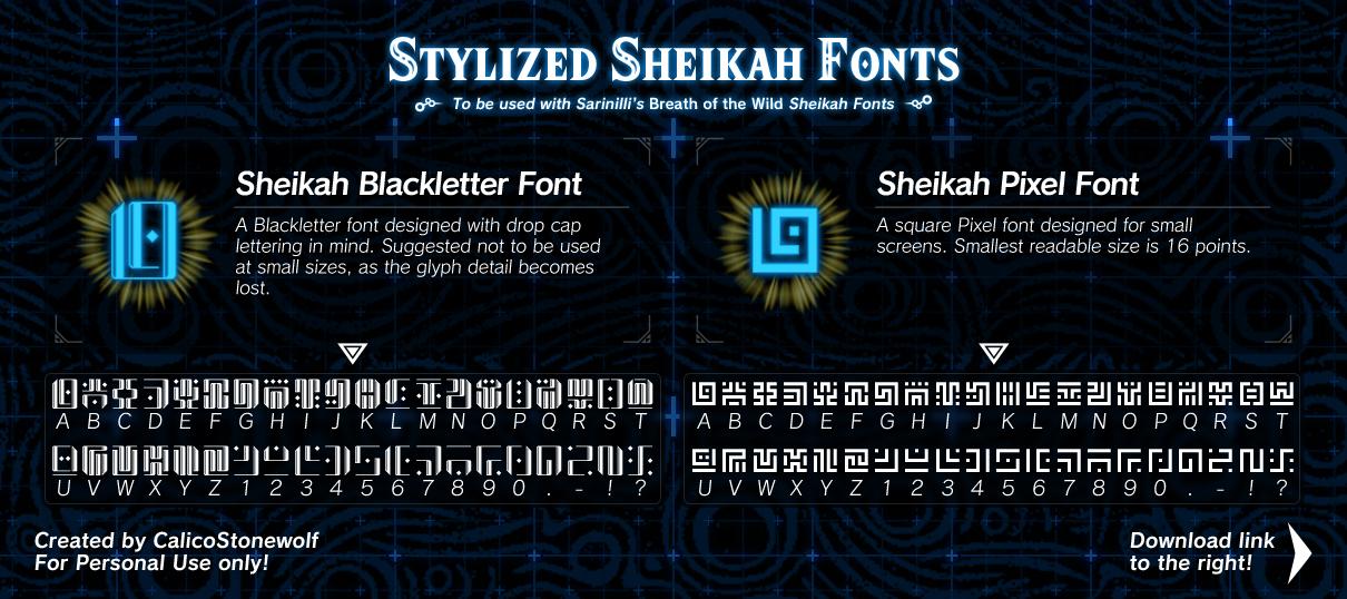 Breath of the Wild - Stylized Sheikah Fonts by CalicoStonewolf