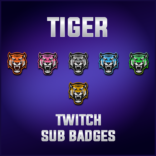 Tiger Sub Badges for Twitch by xcrimsonxqueenx on DeviantArt