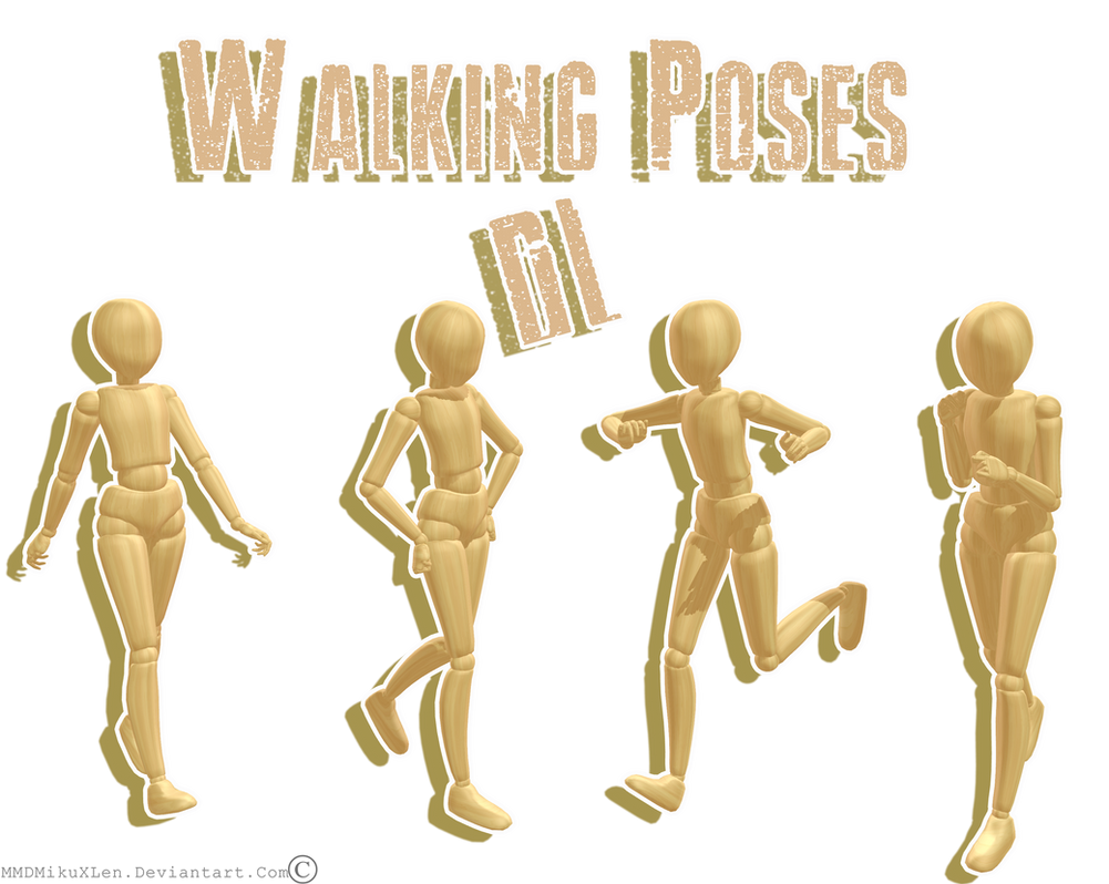 .:: MMD Walking pose pack ::. DL by MMDMikuxLen