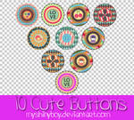 10 Cute Buttons PNG