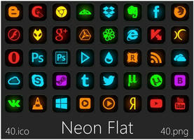 Neon Flat Icons by alexgal23