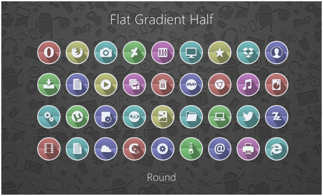 Flat Gradient Half Round
