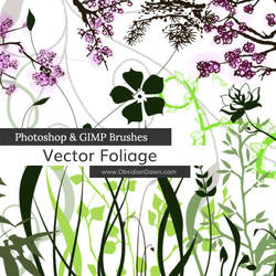 Vector Foliage-Plants Photoshop and GIMP Brushes by redheadstock