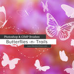 Butterflies n Trails Photoshop and GIMP Brushes