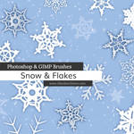 Snow + Snowflakes Photoshop and GIMP Brushes