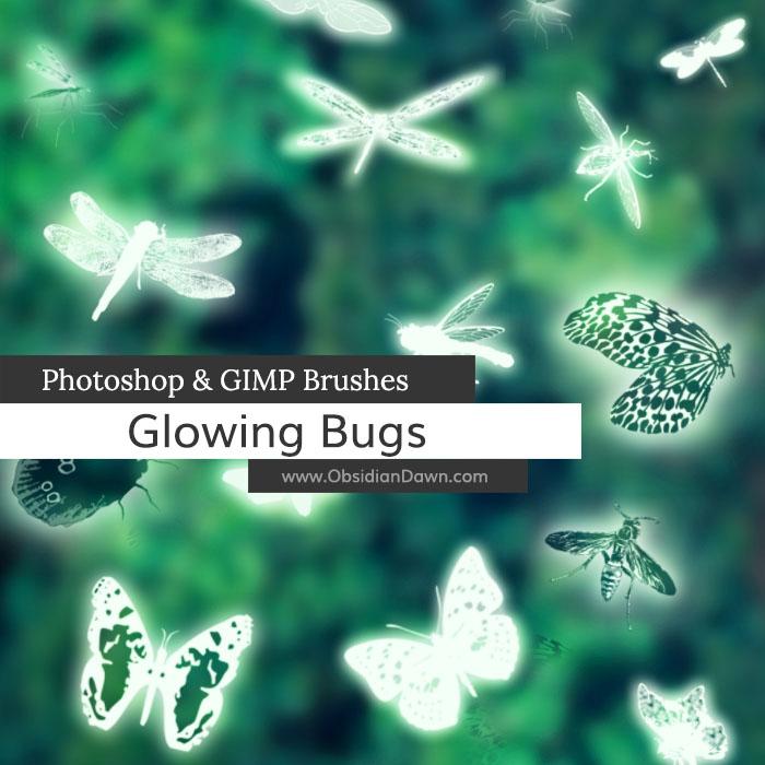 Glowing Bugs Photoshop and GIMP Brushes