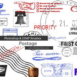Postage Photoshop and GIMP Brushes