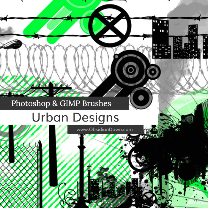 Urban Designs Vectors Photoshop and GIMP Brushes by redheadstock