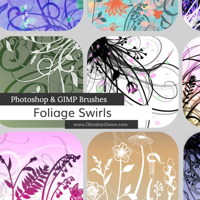 Foliage Swirls Photoshop and GIMP Brushes by redheadstock