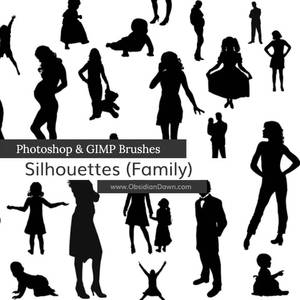 Silhouettes Photoshop and GIMP Brushes